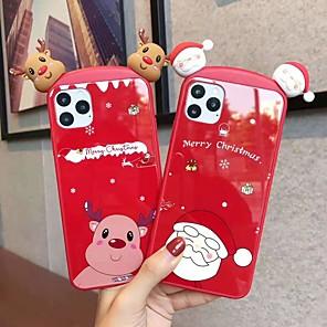 ieftine Inele Cuplu-Maska Pentru Apple iPhone 11 / iPhone 11 Pro / iPhone 11 Pro Max Model Capac Spate Animal / Desene Animate / Crăciun silicagel