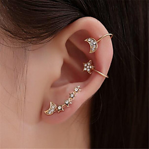 ieftine Cercei-Pentru femei Cercei cu Clip Cătușe pentru urechi #D MOON Αστέρι Modă cercei Bijuterii Auriu Pentru Petrecere Zilnic Stradă 3pcs