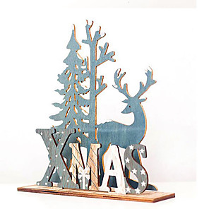 cheap Kids Activity Kits-Natural Xmas Elk Wood Craft Christmas Tree Ornament Noel Christmas Decoration for Home Wooden Pendant