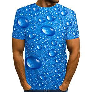 povoljno Muške majice i potkošulje-Majica s rukavima Muškarci - Ulični šik / pretjeran Dnevno / Izlasci 3D / Grafika / Slovo Drapirano / Print Plava