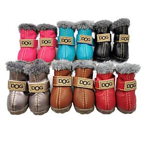 ieftine Imbracaminte & Accesorii Căței-Câine Pantofi & Cizme Cizme de Zăpadă Mată Impermeabil Keep Warm Modă Iarnă Îmbrăcăminte Câini Gri argintiu Negru Rosu Costume PU piele Piele de căprioară Material amestecat XS S M L XL