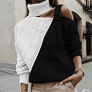 ieftine Cercei-Pentru femei Bloc Culoare Manșon Lung Plover Pulover pulovere, Guler Pe Gât Roz Îmbujorat / Maro / Negru S / M / L