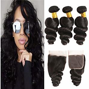 ieftine HDMI-3 pachete cu închidere Păr Brazilian Ondulee Largi Păr Virgin 100% pachete Remy Hair Weave Umane tesaturi de par Extensii pachet de par 8-20 inch Culoare naturală Umane Țesăturile de par Fără miros