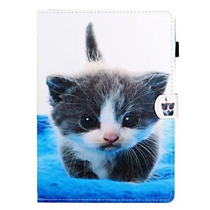 ieftine Audio & Video-Maska Pentru Apple iPad Air / iPad (2018) / iPad nou de aer (2019) Cu Stand / Întoarce / Model Carcasă Telefon Pisica PU piele / TPU