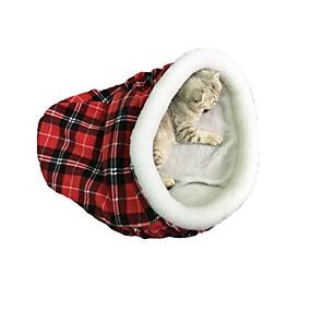 ieftine Câini Gulere, hamuri și Curelușe-Pisici Paturi Keep Warm Faţă-Verso Pliere Animale de Companie  Pentru Linii Terilenă Tartan / Carouri Negru Rosu