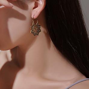 povoljno Naušnice-Žene Viseće naušnice Naušnica Graviranog Cvijet Naušnice Jewelry Zlato / Srebro Za Dar Dnevno Karneval Ulica Klub