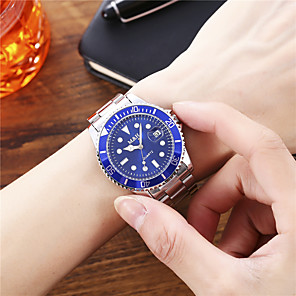 hesapli Çelik Kordonlu Saatler-Erkek Paslanmaz Çelik Quartz Resmi Stil Şık Günlük Askeri Gümüş Analog - Beyaz Siyah Mavi