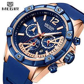 ieftine Ceasuri Bărbați-MEGIR Bărbați Ceas Elegant Quartz Stil Oficial Stil modern Silicon 30 m Rezistent la Apă Calendar Zone Triple De Timp Analog Casual Modă - Negru / Auriu Negru / Argintiu Auriu / Albastru