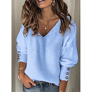 povoljno Muške majice s kapuljačom i trenirke-Žene Jednobojni Dugih rukava Pullover Džemper od džempera, V izrez Red / Plava / Sive boje S / M / L