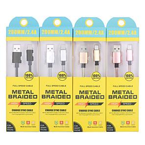 ieftine Cabluri & Adaptoare-Tip C Cablu 0,2M (0.65Ft) Rapidă încărcare Oțel inoxidabil Adaptor pentru cablu USB Pentru Samsung / Huawei / Xiaomi