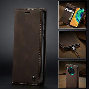 billige Etuier/deksler til Huawei-Etui Til Huawei Kompis 30 / Mate 30 Pro Lommebok / Kortholder / Støtsikker Heldekkende etui Ensfarget PU Leather
