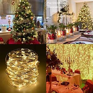 ieftine Produse Fard-5m Fâșii de Iluminat 50/100/200 LED-uri 1 13 Comenzi de la distanță 5pcs / 1set Roșu / Albastru / Galben Crăciun / Anul Nou Rezistent la apă / Petrecere / Crăciun decor de nunta Baterii AA alimentate
