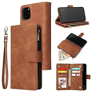 Недорогие Кейсы для iPhone-Кейс для Назначение Apple iPhone 11 / iPhone 11 Pro / iPhone 11 Pro Max Кошелек / Бумажник для карт / Защита от удара Чехол Однотонный Кожа PU / ТПУ