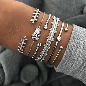 ieftine Colier la Modă-6pcs Pentru femei Cristal Brățări Bangle Brățări Bantă Silver Bracelets Clasic Leaf Shape Ananas Val Declarație Punk European La modă Modă Ștras Bijuterii brățară Argintiu Pentru Petrecere Cadou