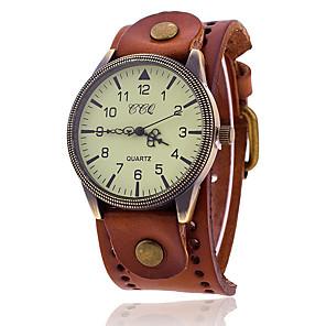 ieftine Ceasuri Brățară-Pentru femei Ceas Brățară Quartz Stil Oficial Stil Vintage Casual Cool Analog Negru Maro / Un an / Piele Autentică / Piele Autentică / Mare Dial / Un an