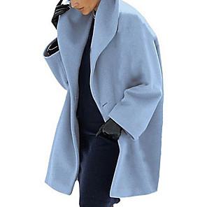 """povoljno MacBook Air 13"""" maske-Žene Dnevno Jesen zima Dug Kaput, Jednobojni Odbačenost Dugih rukava Poliester Crn / Braon / Svjetloplav"""