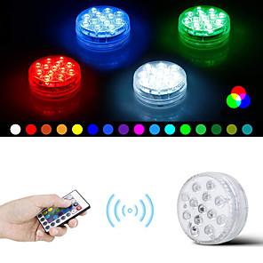 ieftine Spoturi LED-13 leduri submersibile cu telecomandă rgb care schimbă subacvatice lumini impermeabile pentru bazin piscină fântână acvariu vază cadă cu hidromasaj cadă petrecere 1 pachet