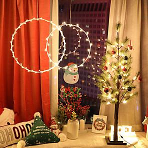 ieftine Tricouri LED-1.5m Fâșii de Iluminat 25 LED-uri 1set Alb Cald Ziua îndragostiților Crăciun Decorativ Crăciun decor de nunta Luminile cu coarde pentru perdele Baterii AA alimentate