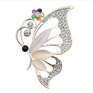 cheap Brooches-Women's Cubic Zirconia Brooches Classic Butterfly Classic Basic Brooch Jewelry White For Party Graduation Gift Daily Festival