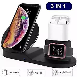 Недорогие Беспроводные зарядные устройства-10 Вт 7,5 Вт 3 в 1 беспроводное зарядное устройство для подставки для зарядки часов Apple Watch и беспроводного зарядного устройства для мобильных устройств. Ii 11 pro max / xs / xs max / xr / x / 8/8
