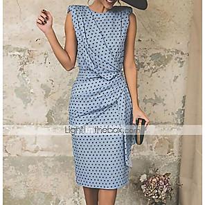 Χαμηλού Κόστους Print Dresses-Γυναικεία 2020 Μεγάλα Μεγέθη Ανθισμένο Ροζ Ρουμπίνι Φόρεμα Βίντατζ Ανοιξη καλοκαίρι Εξόδου Θήκη Πουά Στάμπα Σουρωτά Πουά Τ M / Sexy