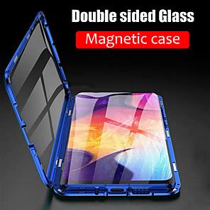 Недорогие Чехлы и кейсы для Galaxy S6 Edge-Кейс для Назначение SSamsung Galaxy S9 / S9 Plus / S8 Plus Магнитный Чехол Однотонный Закаленное стекло / Металл