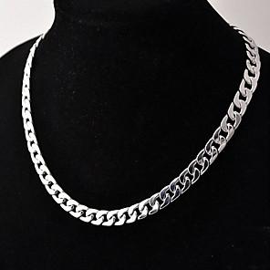 ieftine Coliere-Bărbați Lănțișoare Link cubanez Răsucit Box lanț Simplu De Bază Modă Articole de ceramică Argilă Argintiu 50 cm Coliere Bijuterii 1 buc Pentru Zilnic Stradă