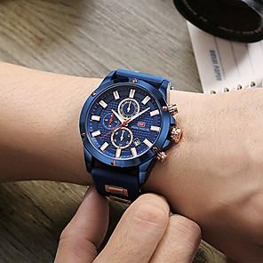 ieftine Ceasuri Smart2-Bărbați Ceas Sport Ceas de Mână Aviation Watch Japoneză Quartz Silicon Negru / Albastru 30 m Calendar Cronometru Iluminat Analog Lux Casual Modă - Negru Albastru Cafea