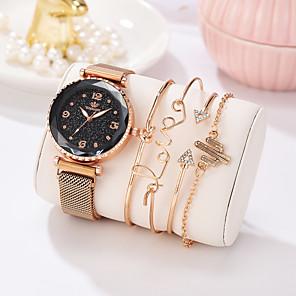 저렴한 여성 디지털 시계-여성용 팔찌 시계 모조 큐빅 캐쥬얼 우아함 블랙 블루 레드 합금 석영 블랙 퍼플 골드 창조적 캐쥬얼 시계 모조 다이아몬드 1 세트 아날로그 1 년 배터리 수명