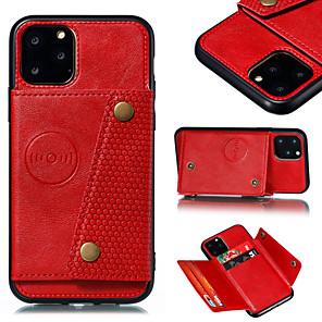 ieftine Carcase iPhone-Maska Pentru Apple iPhone 11 / iPhone 11 Pro / iPhone 11 Pro Max Portofel / Titluar Card / Cu Stand Capac Spate Mată PU piele