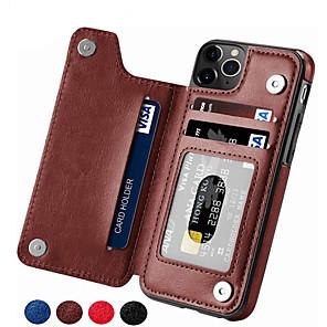Недорогие Кейсы для iPhone-Кейс для Назначение Apple iPhone 11 / iPhone 11 Pro / iPhone 11 Pro Max Бумажник для карт Кейс на заднюю панель Однотонный Кожа PU