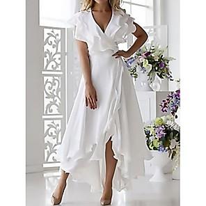 Χαμηλού Κόστους Print Dresses-Γυναικεία 2020 Ασύμμετρο Μεγάλα Μεγέθη Λευκό Σκούρο μπλε Φόρεμα Σέξι Άνοιξη Αργίες Διακοπές Παραλία Γραμμή Α Μονόχρωμο Πεταλούδα Βαθύ V Με Βολάν Wrap Πολυεπίπεδο Τ M