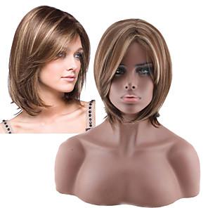 저렴한 -인조 합성 가발 곱슬머리 스트레이트 비대칭 헤어컷 가발 짧음 밝은 금발 인조 합성 헤어 6 인치 여성용 최고의 품질 블론드