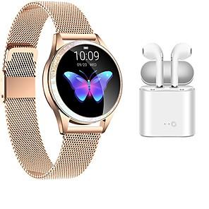 povoljno Modne ogrlice-kw20 smartwatch od nehrđajućeg čelika bluetooth fitness tracker s bežičnim slušalicama za samsung / ios / android telefone