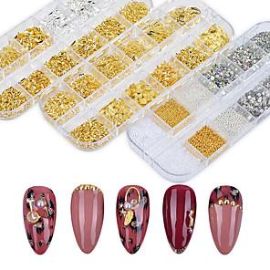 ieftine Îngrijire Unghii-1 carcasă de argint de aur 3d decorații de artă pentru unghii se amestecă cadru metalic cu nituri de unghii mărgele mărgele strălucitor strass accesorii manichiura
