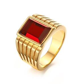 povoljno Prstenje-Muškarci Prsten Sintetička Rubina 1pc Zlato Tikovina Geometric Shape Moda Dnevno Praznik Jewelry Geometrijski Cvijet Cool