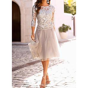 Χαμηλού Κόστους Print Dresses-Γυναικεία Μπεζ Φόρεμα Κομψό Εξόδου Γραμμή Α Μονόχρωμο Δαντέλα Δίχτυ M L Λεπτό
