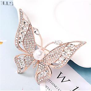 ieftine Broșe-Pentru femei Zirconiu Cubic Broșe Fluture Stilat Placat Auriu Diamante Artificiale Broșă Bijuterii Auriu Argintiu Pentru Zilnic Muncă