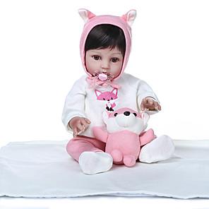 ieftine LED-uri-NPKCOLLECTION Păpuși Renăscute Bebeluș Bebe Fetiță 20 inch Solid silicon din corp Silicon - Draguț Model nou Artificial Implantation Brown Eyes Lui Kid Fete Jucarii Cadou