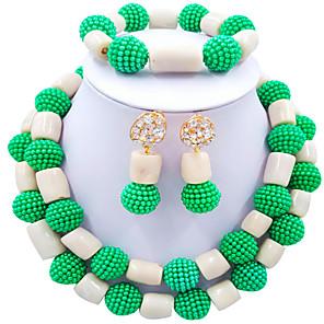 ieftine Seturi de Bijuterii-Pentru femei Perle Cercei Picătură Brățări cu Mărgele Seturi de bijuterii de mireasă Împletit Inimă Έθνικ Africa Imitație de Perle cercei Bijuterii Maro / Roz Aprins / Albastru Intens Pentru Nunt
