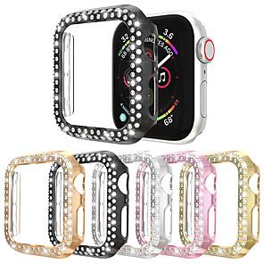 hesapli Smartwatch Kılıfları-Çift satır elmas İzle vaka apple İzle vaka 38mm 42mm 40mm 44mm band pc ekran koruyucu kapak için iwatch serisi 5 4 3 2