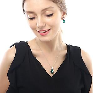 ieftine Cercei-Pentru femei Zirconiu Cubic Cercei Rotunzi Lănțișor Brățară cu Pandativ Picătură La modă cercei Bijuterii Verde Pentru Festival 1set
