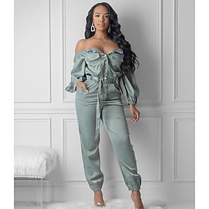 Χαμηλού Κόστους Print Dresses-Γυναικεία Βασικό Πράσινο Ανοικτό Φόρμες Ολόσωμη φόρμα, Μονόχρωμο Τ M L