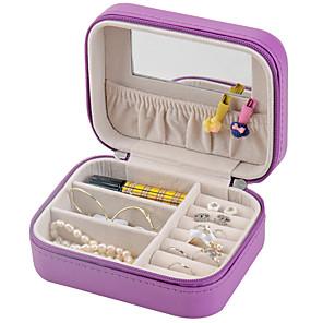 ieftine Cutie de bijuterii și afișaj-Cutie de bijuterii - De lemn, Piele Alb, Roz, Violet Deschis 12.5 cm 9.5 cm 5.5 cm / Pentru femei