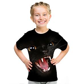 Barn Jente Aktiv Gatemote 3D Dyr Trykt mønster Kortermet T-skjorte Svart