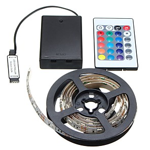 ieftine Benzi Lumină LED-2m Fâșii De Becuri LEd Flexibile 60 LED-uri SMD5050 8mm 1 Controler la distanță de 24 de taste 1 buc RGB Halloween / Crăciun Petrecere / Decorativ / Nuntă Baterii AA alimentate
