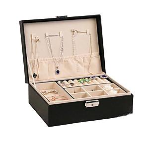 ieftine Cutie de bijuterii și afișaj-Pătrat Cutie de bijuterii - De lemn Negru, Alb, Roz # # # / Pentru femei
