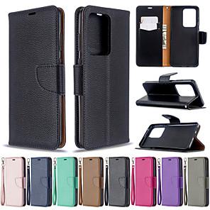 Недорогие Чехлы и кейсы для Lenovo-чехол для samsung galaxy s20 s20 plus чехол для телефона искусственная кожа материал личи рисунок сплошной цвет шаблон чехол для телефона для galaxy s10 s10 plus s20 ultrs s9 plus s9