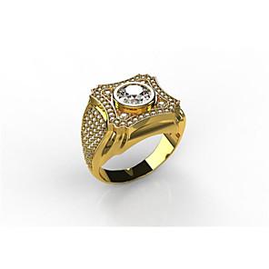 povoljno Prstenje-Muškarci Prsten Kubični Zirconia 1 komad Zlato Kamen Geometric Shape Klasik Party Dnevni Nosite Jewelry Klasičan Flower Shape