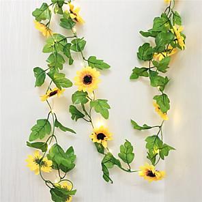 ieftine Fâșii Becurie LED-2,5m soare flori de zână a condus lumina artificiale plante artificiale ghirlandă de cupru a condus flexibile sfoară lumina de sărbătoare pentru petrecere de nuntă diy lumini suspendate